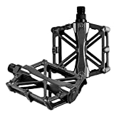 iHomeGarden Bicycle Pedals - Aluminum Alloy Mountain Bike Pedals - Flat Platform Pedals with 16 Anti-Skid Pins - Universal 9/16 Inch Road Pedals for BMX/MTB Bike, City Bike