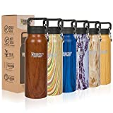 Healthy Human Wood Collection Insulated Stainless Steel Water Bottle Stein - Cold 24 Hours/Hot 12 Hours - Double Walled Vacuum Flask - 32 oz Harvest Maple