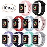 Pedfsy for Apple Watch Band, Breathable Soft Silicone Sport Strap Replacement Wristband Bracelet for iWatch Apple Watch Sport, Series 1, 2, 3, Sport, 10 Packs, 38mm