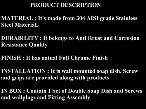 U-S-F-BATH-ACCESSORIES-ARYAN-USF-Puma-304-Stainless-Steel-Anti-Rust-Corrosion-Free-Double-Dish-Bathroom-Soap-Holder-Medium-Silver-Finish