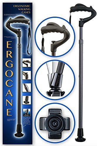 As Seen On TV Ergocane By Ergoactives. Fully-adjustable Ergonomic Cane (Carbon)