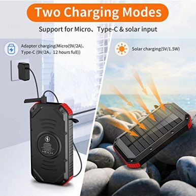 Solar-Power-Bank-30000mAh-Solar-Charger-Wireless-Portable-Charger-18W-with-5-Outputs-Type-c-input-4-lighting-Modes-Super-Bright-Flashlight-Waterproof-Phone-Charger-for-Camping-Outdoor