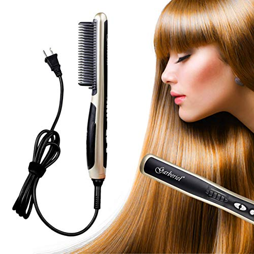 HeCloud UL Certified Safety Ceramic Hair Straightener Brush Hair straightener Comb 110V 33W