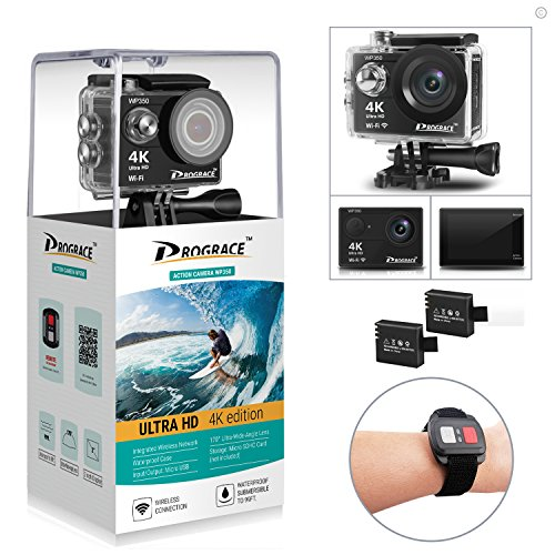 DROGRACE WP350 Sports DV Camera Wifi Video Action Camera Waterproof 4K 60fps 30fps 1080p Full HD for Youtube Underwater Remote Digital Camera Accessories Kit 12MP 170 Wide Angle 6G Lens