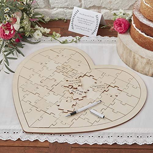 Ginger Ray Libro de visitas de boda de rompecabezas de madera 58 Pieza