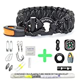 Paracord Bracelet Survival Gear   550 Premium Black Reflective Parachute   First Aid Kit 19 in 1 Compass, Fire Starter, Knife, Whistle, Rescue Rope & Fishing Tools - Outdoor Hiking Camping Hunting
