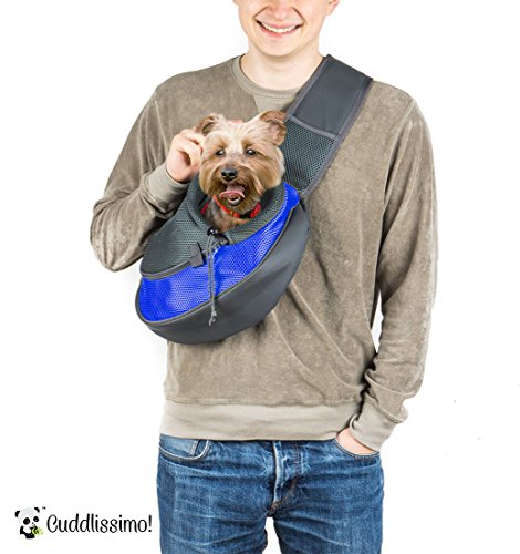Cuddlissimo! Pet Sling Carrier - Small Dog Cat Sling Pet Carrier Bag Safe Reversible Comfortable Adjustable Pouch Single Shoulder Carry Tote Handbag for Pets Below 6lb 1