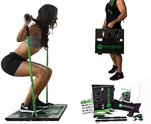BodyBoss 2.0 - Full Portable Home Gym Workout Package + Resistance Bands - Collapsible Resistance Bar, Handles - Full Body Workouts for Home, Travel or Outside 3