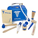 Doctor Kit for Kids Playset (10 pcs) | Dr. Maple's Wooden Wonders Pretend Play Wood Toy Doctor Kit | Doctor, Nurse & Vet Play Medical Bag for Toddlers | Includes Medicine, Ointment, Tools & Med Chart