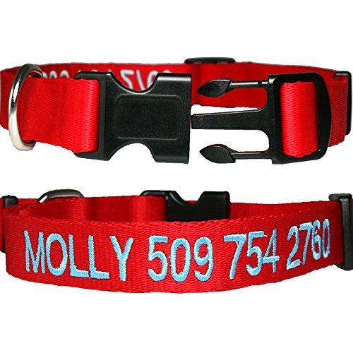 Personalized Nylon Dog Collar, Custom Embroidered with Pet Name & Phone Number. 4 Adjustable Sizes in XSmall, Small, Medium, Large. Male or Female Dogs. Great alternative to Pet Tags.