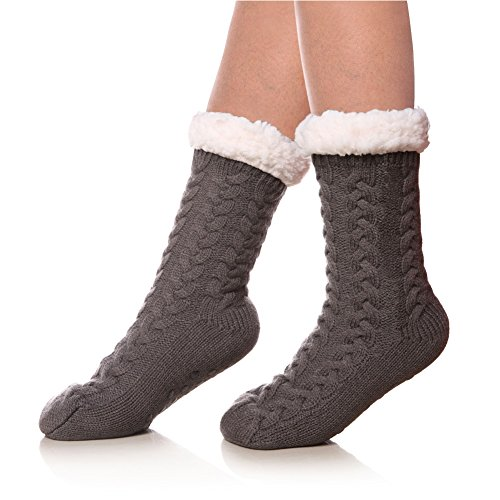 SDBING Women's Winter Super Soft Warm Cozy Fuzzy Fleece-lined Christmas Gift With Grippers Slipper Socks (Gray A)