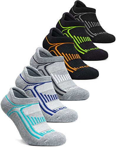 Tesla CLSL TM-MZS05-KGX_Small Men's 6-Pairs Atheltic No Show Socks Cushioned Comfort w Mesh MZS05