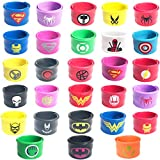 Janhop Superhero Slap Bracelet for Kids Boys & Girls,Superheros Birthday Party Supplies Favors,Includes the new Black Panther and Deadpool Super Hero Bracelet