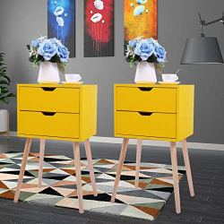 JAXPETY Set of 2 Nightstand 2 Drawers End Table Storage Wood Cabinet Bedroom Accent Side Table (Yellow)