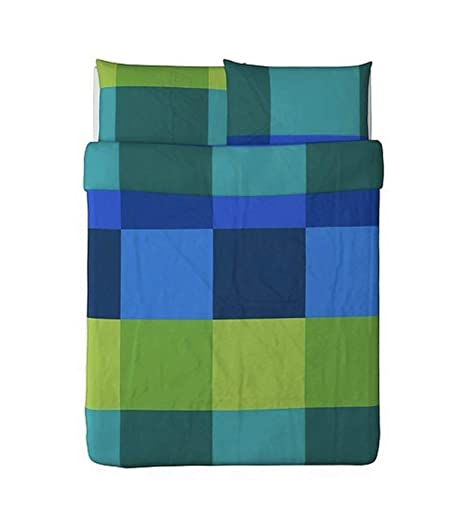 Ikea Brunkrissla 3pc Queen Copripiumino E Guanciale Blu