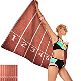homehot White Bath Towels Running Track Texture with Lane Numbers,W12 xL35 for Youth Girls Cotton