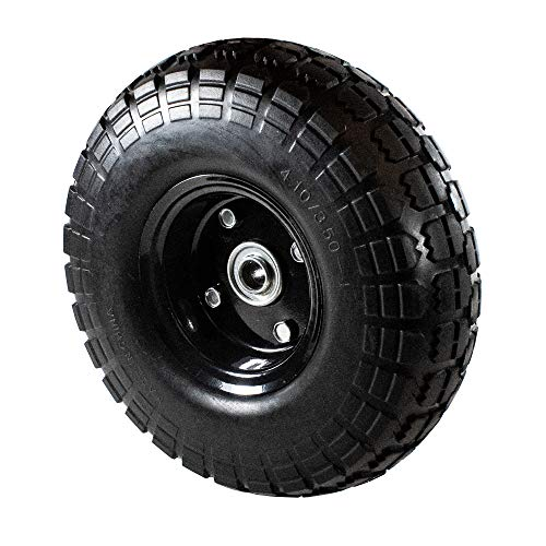ALEKO WNF10 Anti Flat Replacement Turf Wheels for Wheelbarrow 10 Inches No Flat Tire Black