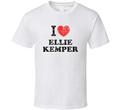 Ellie Kemper I Love Heart Comedian Comedy Worn Look Cool Fan T Shirt S White