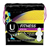 U by Kotex Fitness Ultra Thin Pads with Wings, Regular Absorbency, Fragrance-Free Pads, 15 Count
