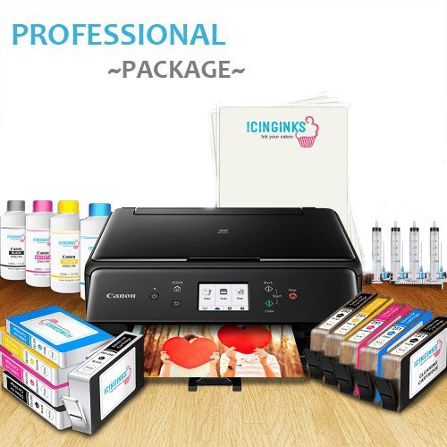 Icinginks Professional Edible Printer Bundle System - Comes with Refillable Edible Cartridges, Icing Sheets, Cleaning Cartridges, Refill Inks, Refill Tools - Canon Edible Image Printer for cakes