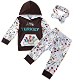 Baby Boy Clothes Cute Hoodie Pant Outfit Thanksgiving Long Sleeve Tops 90S Newborn Infant Girl Soft Turkey Sweatshirt Kangaroo Pocket and Legging Sets with Headband 3 Pcs Suit Black 6-12 Months