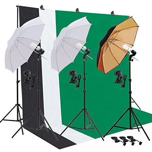 SUNCOO Studio Photography Lighting Kit Including Background Support Stand Kit,Umbrellas Softbox Muslin Continuous Lighting Kit with Case for Portfolio and Video Shooting