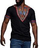 Gtealife Men's African Print Dashiki T-Shirt Tops Blouse (Z-Black, XXL)