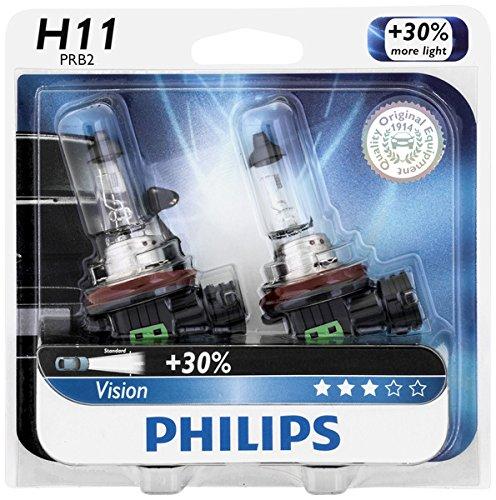 Philips H11 Vision Upgrade Headlight Bulb/Foglight, 2 Pack
