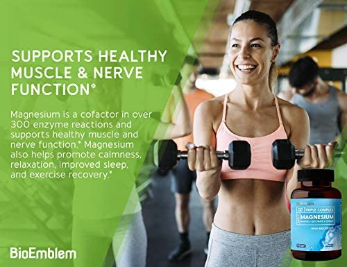 BioEmblem Triple Magnesium Complex | 300mg of Magnesium Glycinate, Malate, & Citrate for Muscle Relaxation, Sleep, Stress Relief, & Energy | High Absorption | Vegan, Non-GMO | 90 Capsules 5