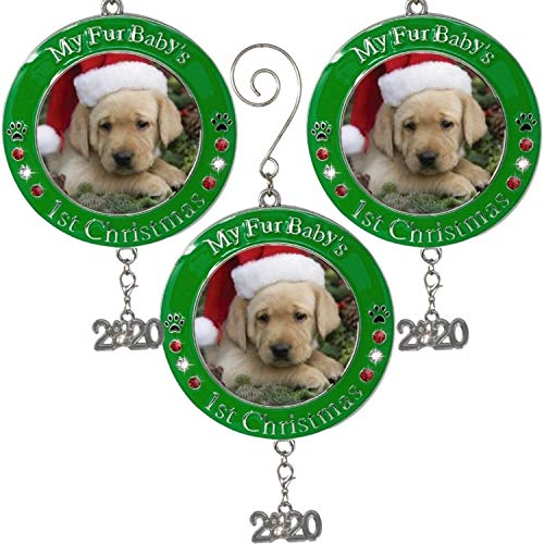 BANBERRY-DESIGNS-Pets-First-Christmas-2020-Photo-Ornament-with-2020-Charm-and-Engraved-My-Fur-Babys-1st-Christmas-3-Pack