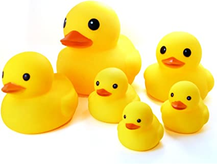 Amazon Com Novelty Place Float Squeak Six Rubber Duck Family Pack Ducky Baby Bath Toy For Kids Pack Of 6 Home Kitchen