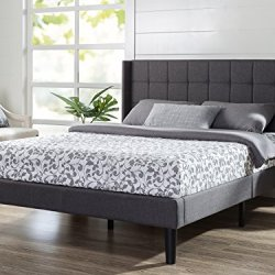 ZINUS Dori Upholstered Platform Bed Frame with Wingback Headboard / Mattress Foundation / Wood Slat Support / No Box…
