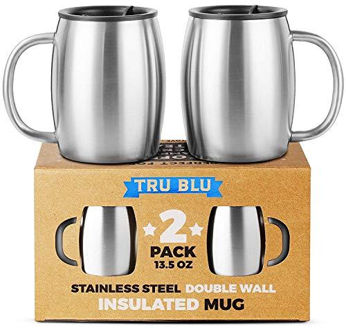 Tazas de café de acero inoxidable con tapa - Juego de 2 tazas de viaje con asa y doble pared...