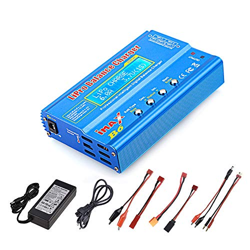 Haitlink 80W 6A Lipo Battery Balance Charger Discharger for LiPo/Li-ion/Life/LiHV Battery (1-6S), NiMH/NiCd (1-15S), Rc Hobby Battery Balance Charger LED W/AC Power Adapter