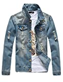 Product review for DSDZ Mens Classic Ripped Motorcycle Denim Jacket With Hole