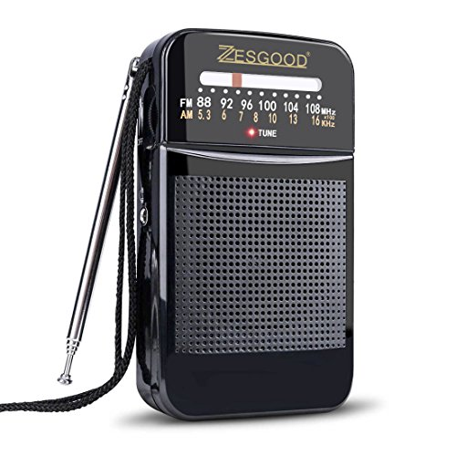 ZesGood Portable Transistor Radio Battery Operated AM FM Radio Portable for Walking Hiking Camping Powered by 2AA Battery, Easy Tuning, Power Saving