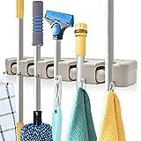 IMILLET Broom Holder, Wall Mount Mop Tool Hanger Utility Rack Garage Kitchen Garden Storage Organizer (Mop Handles Up to 1.77Inches)