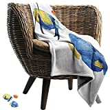 Soft Warm Coral Fleece Blanket Fish Tropical Aquarium Life Discus Fish and Goldfish in Different Patterns Camping Throw,Office wrap 91' W x 60' L Azure Blue Yellow Scarlet