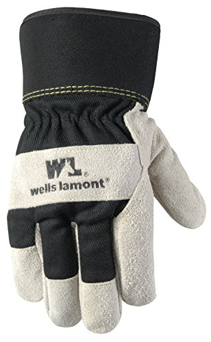 Men's Winter Work Gloves with Leather Palm, 100-gram Insulation, Suede Cowhide, Large (Wells Lamont 5130L)