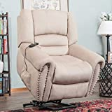 Power Lift Recliner Chair, Heavy-Duty Wide Padded Seat and Soft PU Upholstery Leather for  Elderly with Remote Control Beige