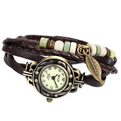 Avaner Vintage Handmade Leather Wrist Watch Tree Leaf Women's Lady Wrap Around Quartz Watch Bracelet