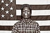 Buyartforless ASAP Mob Rocky with Flag 36x24 Music Art Print Poster Rakim Mayers Smoking Plaid Shirt Rap Hip Hop