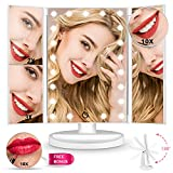 Upgrade Version Makeup Mirror 180° Trifold LED Vanity Mirror Adjustable Touch Screen Cosmetic Mirror with LED Lights Lighted Makeup Mirror with 4 Magnification 1X/2X/3X/10X Mirrors