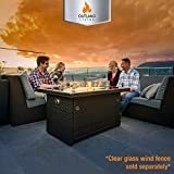 Outland Living Series 401 Brown 44-Inch Outdoor Propane Gas Fire Pit Table, Black Tempered Tabletop w/Arctic Ice Glass Rocks and Resin Wicker Panels, Espresso Brown/Rectangle