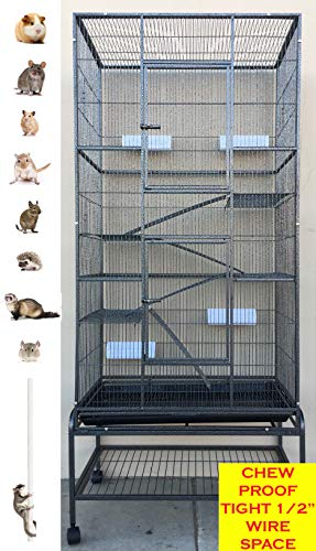 Mcage 2 Color, Extra Large Tall 3 Levels Ferret Chinchilla Sugar Glider Squirrel Animal Cage with 1/2 Inch Cross Shelves and Ladders, 30' Length x 18' Depth x 72' Height (Black Vein)