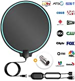 All-New 2019 Indoor HDTV Digital Antenna 4K HD Freeview Life Local Channels All Type Television Switch Amplifier Signal Booster to 150 Mile, Professional Round Shape