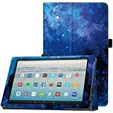 Famavala Folio Case Cover Compatible with 10.1' Amazon Fire HD 10 Tablet [7th Generation 2017 / 5th Generation 2015] (BlueSky)