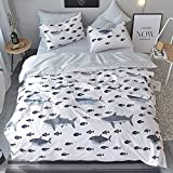 HIGHBUY Kids Shark Fish Print Twin Duvet Cover Set 3 Piece Premium Cotton Bedding Sets Twin for Boys Girls Reversible Ocean Bedding Comforter Cover with Reversible Stripe Pattern