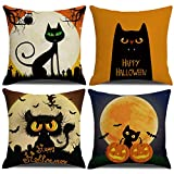 MENGT Halloween Black Cat Decorative Pillow Covers Set of 4 Cushion Cover Pillow Case for Car Sofa Bed Couch 18 x 18 Inch 45 x 45 cm ...