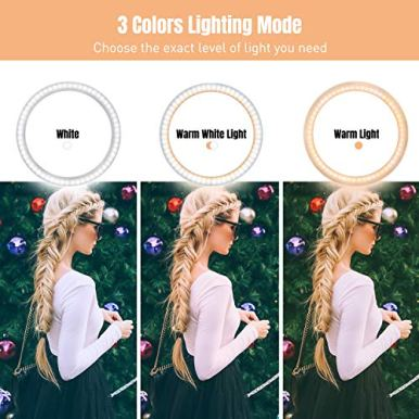 10-Ring-Light-LED-Desktop-Selfie-Ring-Light-USB-LED-Desk-Camera-Ringlight-3-Colors-Light-with-Tripod-Stand-iPhone-Cell-Phone-Holder-and-Remote-Control-for-Photography-Makeup-Live-Streaming